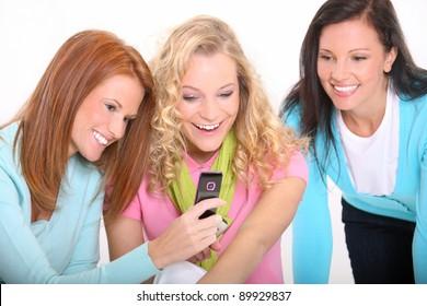 Young women using a cellphone