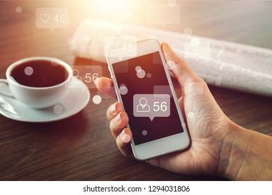 Young women using smart social media concept phones,Social media,social network concept with smart phone - Image          - Image