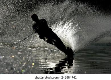 Young women water skiing