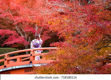 Young women wearing traditional Japanese Kimono at Daigo-ji temple with colorful maple trees in autumn, Famous temple in autumn color leaves and cherry blossom in spring, Kyoto, Japan.