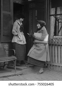 Young women working as a U.S. Census taker in 1920. Washington, D.C., vicinity.