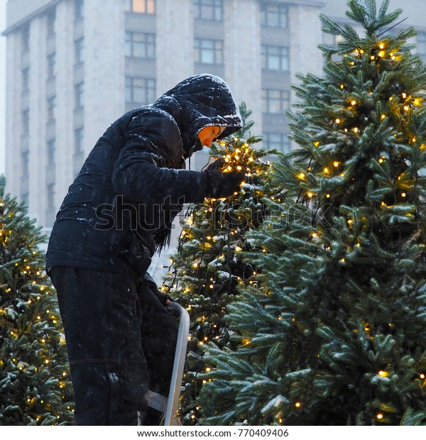 Decorating Christmas Trees Outside.Young Worker Decorate Christmas Tree Outside Stock Photo
