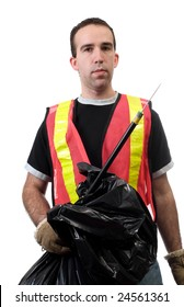 Young worker holding a poking stick and a garbage bag, used to pick up public trash, isolated against a white background