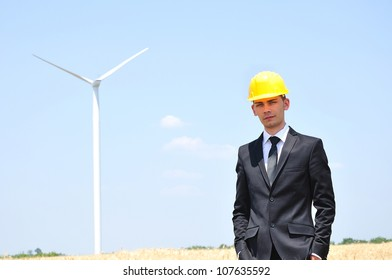 Young worker on wind farm