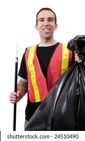 A young worker picking up garbage and is smiling, isolated against a white background
