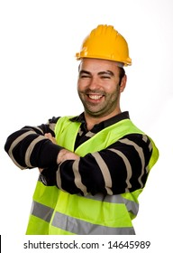 young worker portrait in a white background