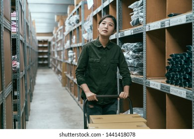 young worker woman transporting cart cardboard cases in storage. asian female employee walking in stockroom pushing cart with boxes on it. girl staff in storehouse finding place put product and goods