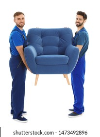 Young workers carrying armchair isolated on white. Moving service