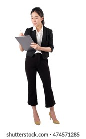 young working woman holding digital tablet on white background