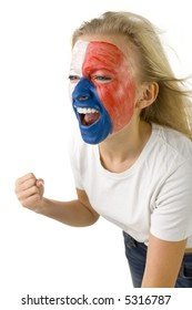 Young yelling Czechish sport's fan with painted flag on face. Sh's on white background.