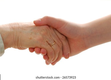 Younger hand is helping older hand