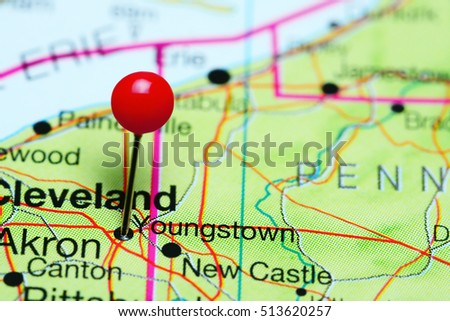 Map Of Ohio Usa.Youngstown Pinned On Map Ohio Usa Stock Photo Edit Now 513620257