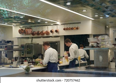 YOUNTVILLE, CALIFORNIA - SEPTEMBER 20, 2017: Cooks in the kitchen of three Michelin Stars restaurant The French Laundry in Yountville, Napa Valley.