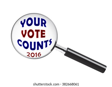 Your 2016 Vote Counts text under a magnifying glass