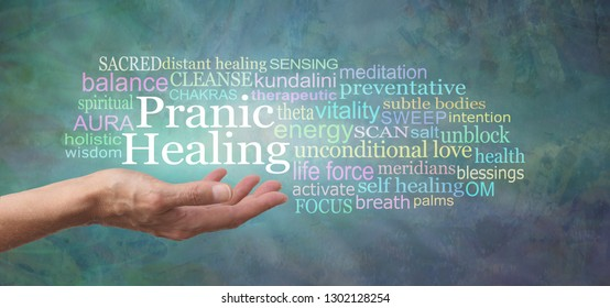 Your body is designed to self heal - try Pranic Healing - female hand with open palm and the words PRANIC HEALING above surrounded by a relevant word cloud on a rustic jade green background