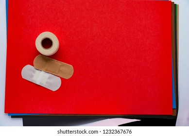 For your Health and sterilization medical plasters on a red background
