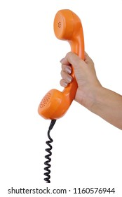 Your Phonecall Hand holding out orange telephone receiver from retro phone