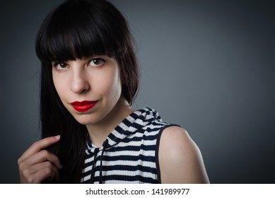 Your pretty female looking at camera