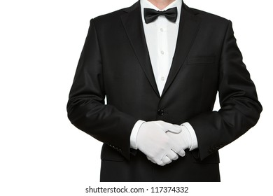 At Your service, well dressed man waiting for orders isolated on white background with copy space