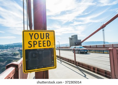 Your speed sign on the bridge with Lens burst flare