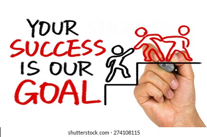 your success is our goal hand drawing on whiteboard