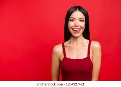 Your so yummy! Fancy elegant graceful glamour pretty perfect lovely cute sweet gorgeous person isolated on red bright background she lick her teeth by stick look at camera