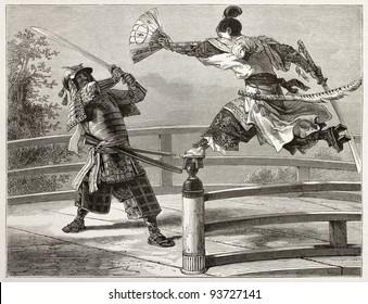 Youshitsune Samurai Kämpfe, große und beliebte Krieger in japanischer Tradition. Erstellt von Bayard nach Malerei durch unbekannten japanischen Autor, veröffentlicht auf Le Tour du Monde, Paris, 1867