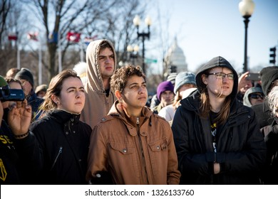Youth activists from Kentucky and across the US occupy the office of Senator Mitch McConnell in protest of his attempts to defeat the Green New Deal. Washington DC. USA. February 25, 2019