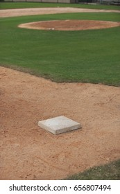 A youth baseball field showing third base and the pitcher's mound