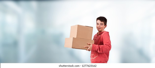 youth with delivery boxes, packages or merchandise