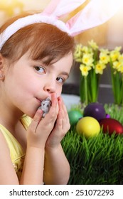 Youth girl with small Easter bunny