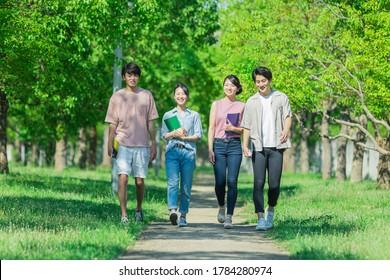 Youth group walking while talking