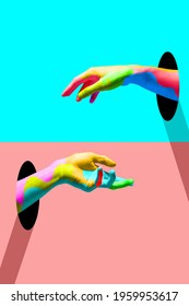 Youth looks like. Bright colored hands catching each other from portals in trendy blue and coral. Copy space for ad, text. Modern design. Conceptual, contemporary bright artcollage. Party time, fun - Shutterstock ID 1959953617