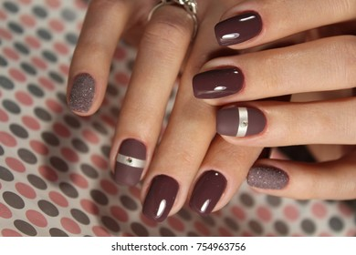 Youth manicure design, beautiful colors coffee nails