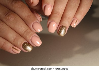 Youth manicure design, coffee with gold 2017