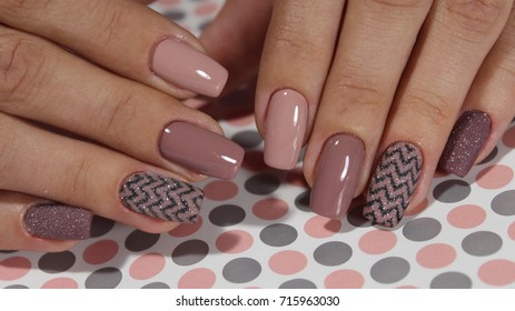 Youth manicure design gel varnish coffee color