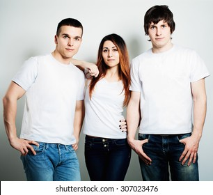 Youth Young People Students Wearing White Empty T Shirt Two Guys And One