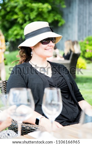 6eb0ae19c385 Youthful Attractive 40 Yearold Woman Wearing Black Stock Photo (Edit ...