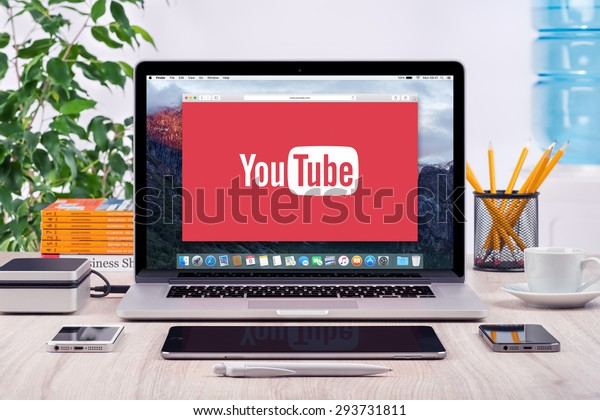 YouTube logo on the front view Apple MacBook Pro screen. YouTube presentation concept. YouTube is a video-sharing site allows users to upload, view, and share videos. Varna, Bulgaria - May 31, 2015.