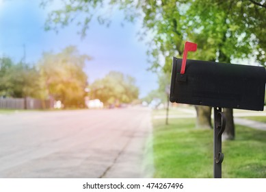 you've got mail! Mailbox with street view - has flag up to indicate mail has arrived.