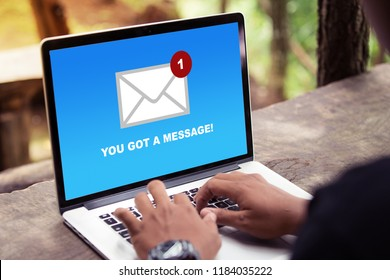 You've got a mail message on laptop screen concept