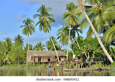 YOUW VILLAGE, ATSY DISTRICT, ASMAT, NEW GUINEA, INDONESIA - MAY 23: The Village of asmat tribe people on the river in Jjungle of New Guinea.  Long men house of Asmat Village. Indonesia. May 23, 2016