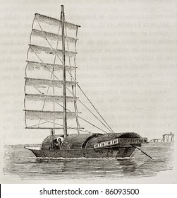 Youyou old illustration, antique Chinese junk. By unidentified author, published on Magasin Pittoresque, Paris, 1842