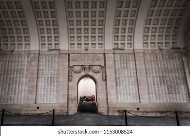Ypres, Belgium - Apr 2014: The Menin Gate memorial to the dead of World War 1, Ypres, Belgium