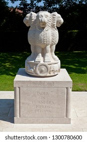 Ypres, Belgium - August 10th 2012: The Indian Forces Memorial at the Menin Gate in Ypres, Belgium.  It is dedicated to the troops of the Indian Forces who served in Flanders during World War I.