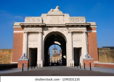Ypres, Belgium - May 25, 2019 - The Menin Gate and memorial for the missing of Commonwealth nations who died in the Ypres Salient during the First World War in Ypres town center