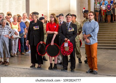 YPRES, WEST FLANDERS, BELGIUM - AUGUST 8, 2015: The Last Post Ceremony, carried out every day at the Menin Gate by buglers of the local volunteer Fire Brigade, marks Belgium's gratitude to the fallen.