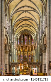 YPRES,BELGIUM - MAY 20,2018 - View at the Choir of Cathedral Saint Martin in Ypres. Ypres is a Belgian municipality in the province of West Flanders.
