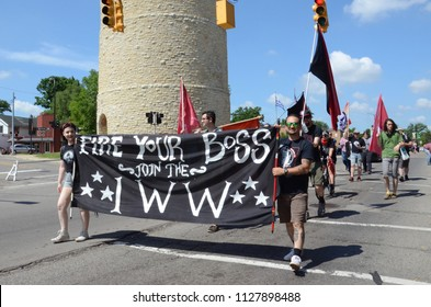 YPSILANTI, MI / USA - JULY 4, 2018:  Representatives of the International Workers of the World organization march in the Ypsilanti Fourth of July parade.