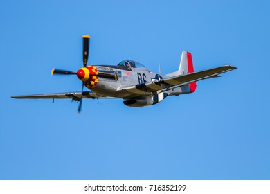 YPSILANTI, MICHIGAN SEPTEMBER 2, 2017:  Gentlemen Jim performes a fly by at Thunder over Michigan air show in honor of Captain James W. Browning, Jim was officially credited with 7 aerial kills.